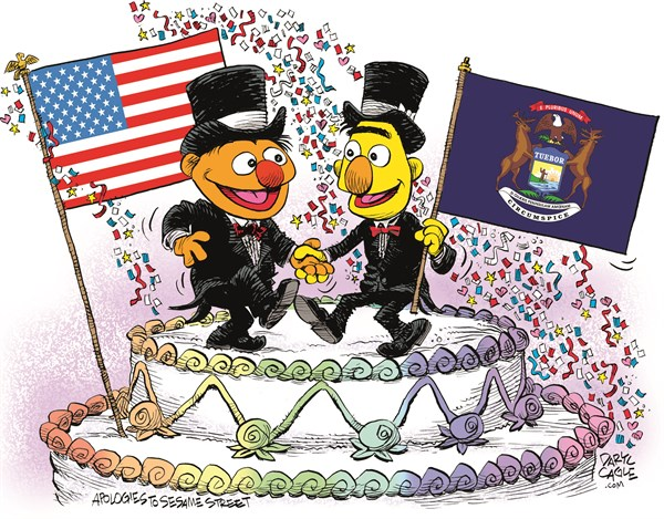 Michigan Marriage Equality Celebration © Daryl Cagle,CagleCartoons.com,Michigan,Marriage Equality,SCOTUS,Supreme Court,law,wedding,homosexual,LGBT,Bert,Ernie,Muppets,Sesame Street,wedding cake,flags,Gay Marriage