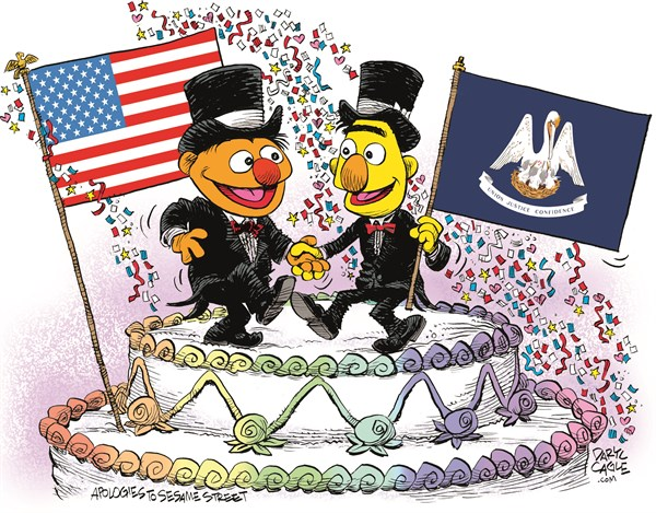 Louisiana Marriage Equality Celebration © Daryl Cagle,CagleCartoons.com,Louisiana,Marriage Equality,SCOTUS,Supreme Court,law,wedding,homosexual,LGBT,Bert,Ernie,Muppets,Sesame Street,wedding cake,flags,Gay Marriage