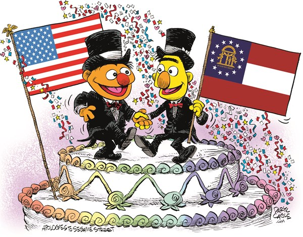 Georgia Marriage Equality Celebration © Daryl Cagle,CagleCartoons.com,Georgia,Marriage Equality,SCOTUS,Supreme Court,law,wedding,homosexual,LGBT,Bert,Ernie,Muppets,Sesame Street,wedding cake,flags,Gay Marriage