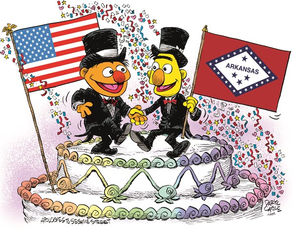 Arkansas Marriage Equality Celebration © Daryl Cagle,CagleCartoons.com,Arkansas,Marriage Equality,SCOTUS,Supreme Court,law,wedding,homosexual,LGBT,Bert,Ernie,Muppets,Sesame Street,wedding cake,flags,Gay Marriage