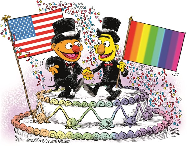 USA Marriage Equality Celebration © Daryl Cagle,CagleCartoons.com,USA,America,Marriage Equality,SCOTUS,Supreme Court,law,wedding,homosexual,LGBT,Bert,Ernie,Muppets,Sesame Street,wedding cake,flags,Gay Marriage