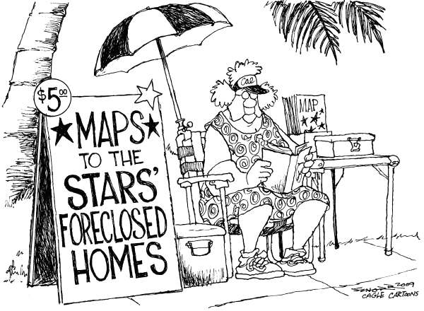 Bill Schorr - Cagle Cartoons - The Recession Hits Hollywood - English - recession, economic collapse, foreclosure, housing market, hollywood, celebrities, money, real estate, movies, California