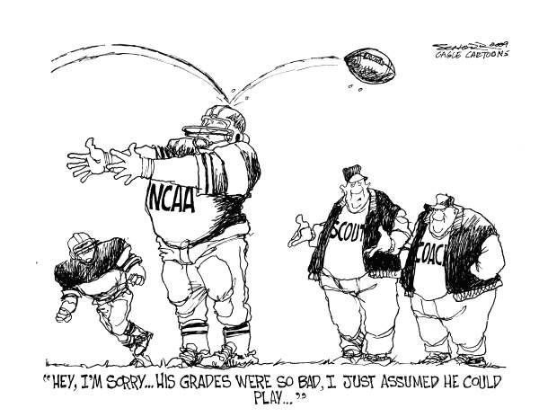 Bill Schorr - Cagle Cartoons - College Football and Academics - English - NCAA, college grades, school studies, college football, sports, players