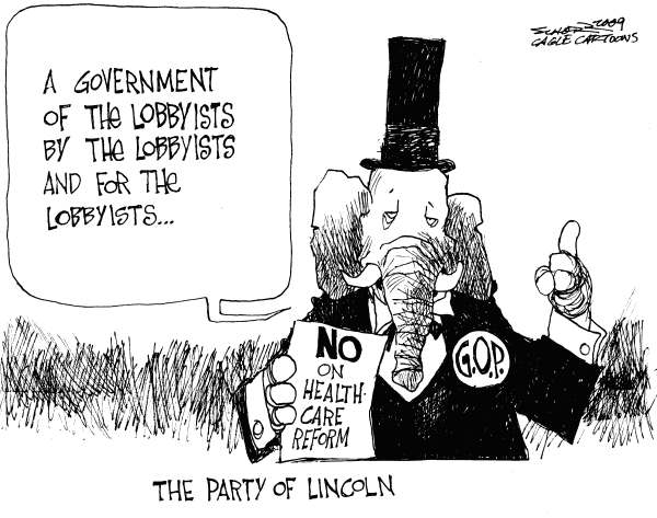 Bill Schorr - Cagle Cartoons - The Party of Lincoln - English - Abraham Lincoln, GOP, healthcare reform, GOP no, No on healthcare reform, Obamacare, Pelosi healthcare, elephant, Republican party, republicans