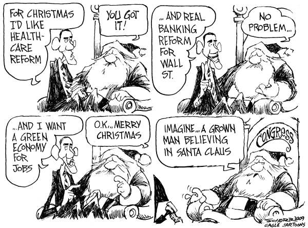 Bill Schorr - Cagle Cartoons - Obama Visits Santa Claus - English - sants, santa claus, Barack Obama, health care reform, wall street, wall street reform, green job, economy, conress