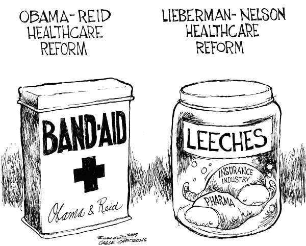 Bill Schorr - Cagle Cartoons - Differences on Health Care Reform - English - Health care, health care reform, Harry Reid, Barack Obama, Obama, Joe Lieberman, Bill Nelson