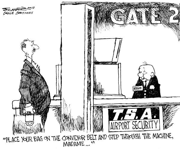 Bill Schorr - Cagle Cartoons - Airport Security and Mr. Magoo - English - TSA, Airline Security, full body scans, underwear bomber, Farouk Abdulmutallab, Al-Qaeda, Northwest Airlines Flight 253, Janet Napolitano