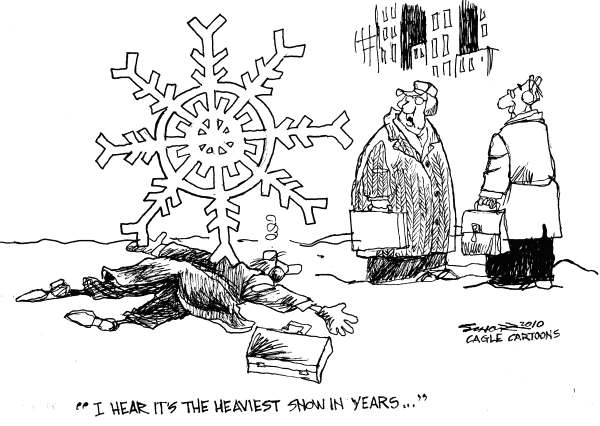 Bill Schorr - Cagle Cartoons - Heavy Snow - English - snow, snowflake, blizzard, snowstorm