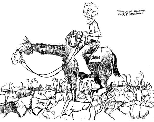 Bill Schorr - Cagle Cartoons - Obama Tries to Herd Cats - English - Barack Obama, Obama, Democrats, herding cats, cowboy, cats, cat, horse