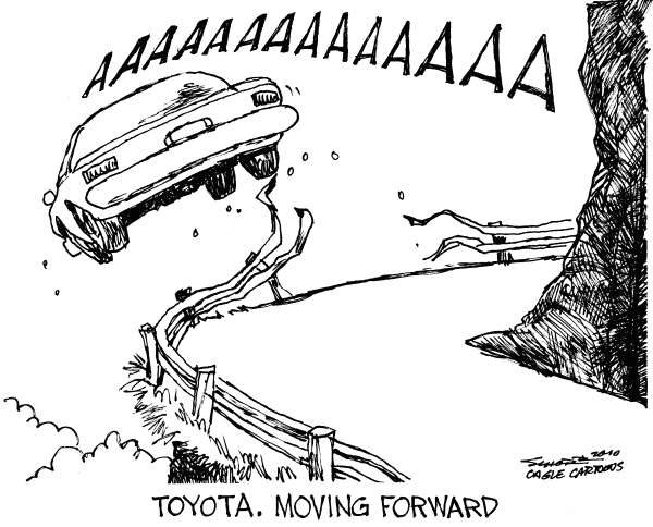 Bill Schorr - Cagle Cartoons - Toyota Moving Forward - English - Toyota, car, cliff, accelerator, pedal, crash, accident, speed, barrier