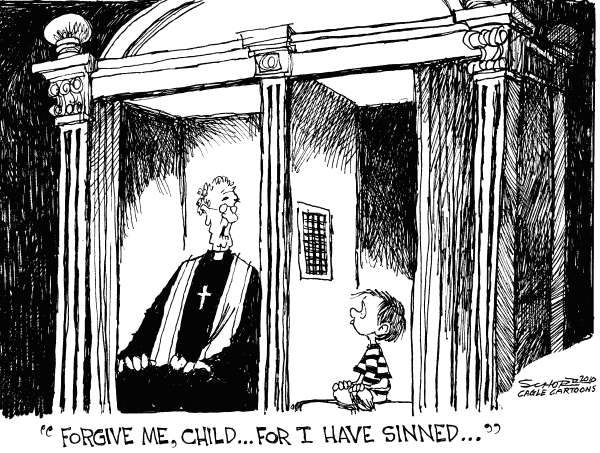 Bill Schorr - Cagle Cartoons - Forgive Me Child - English - child abuse, catholic church, pope benedict, confession, confession booth, child molestation, church