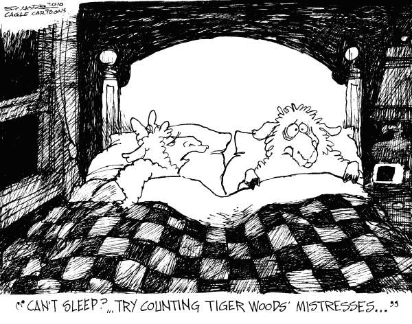 Bill Schorr - Cagle Cartoons - Tiger Woods Mistresses - English - Tiger woods, tiger woods affair, sheep, counting sheep, bed, sleep