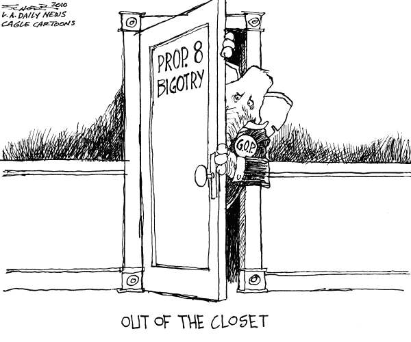 Bill Schorr - The Los Angeles Daily News - GOP Gay Marriage - English - gay marriage, prop 8, GOP, elephant, closet, California
