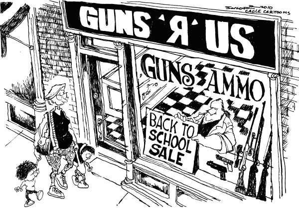 Bill Schorr - Cagle Cartoons - Back to School Guns - English - back to school, school, school kids, guns, ammo, gun control