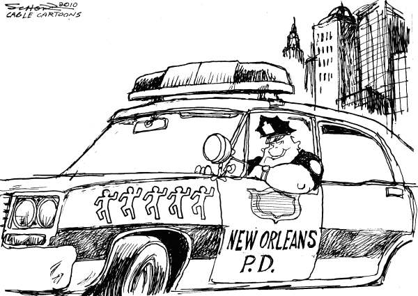 Bill Schorr - Cagle Cartoons - New Orleans Police - English - New Orleans, Police car, chalk outline, New Orleans Police