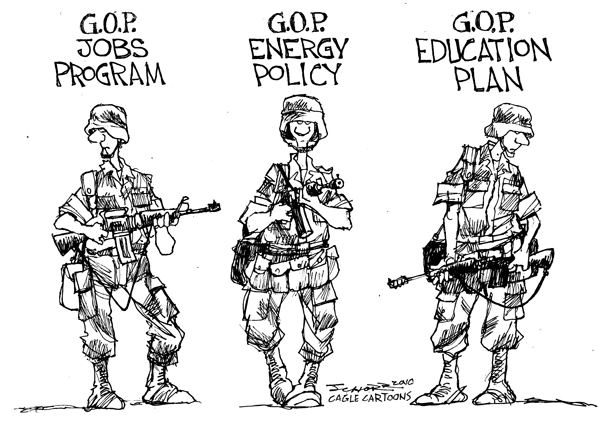 Bill Schorr - Cagle Cartoons - GOP Jobs Energy Education - English - GOP,jobs,energy,education,army,military,war