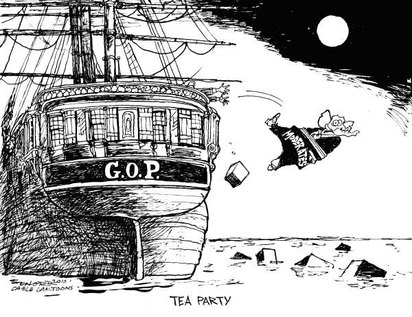 Bill Schorr - Cagle Cartoons - Tea Party - English - GOP, Tea Party, Moderates, Ship, Elephant, Christine ODonnell