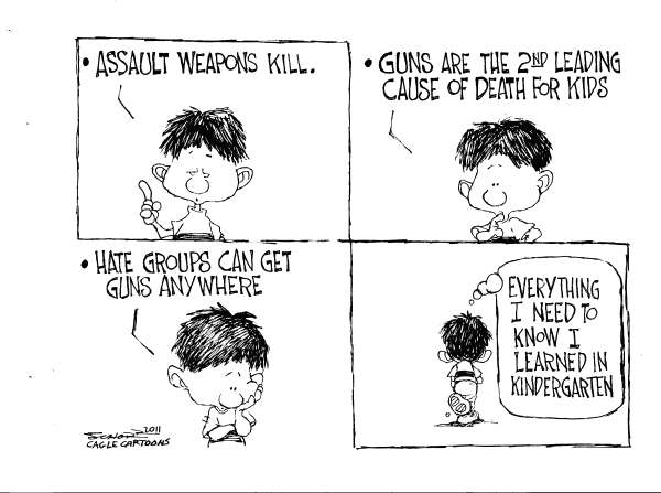 Bill Schorr - Cagle Cartoons - Assault Weapons and School Kids - English - gun control, 2nd amendment, gun rights, guns, assault weapons, kindergarten, school, hate, death, shooting