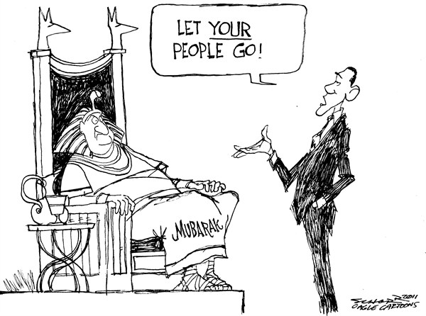 Bill Schorr - Cagle Cartoons - Mubarak Let Your People Go - English - Hosni Mubarak, Egypt, Obama, pharaoh