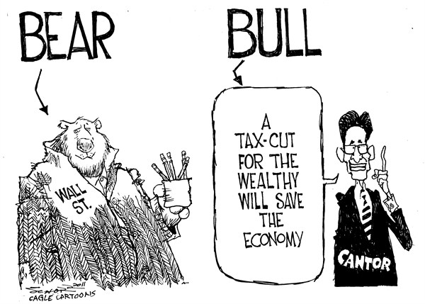 Bill Schorr - Cagle Cartoons - Bear Versus Bull - English - stock market, bear, bull, Eric Cantor, tax cuts, economy