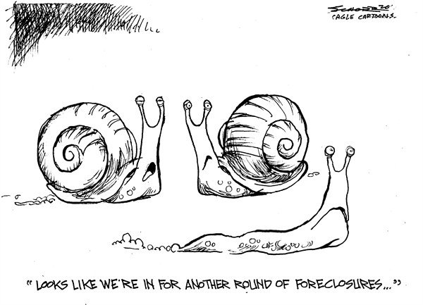 Bill Schorr - Cagle Cartoons - Foreclosure - English - foreclosure, snail, hosing market, home value, home, house