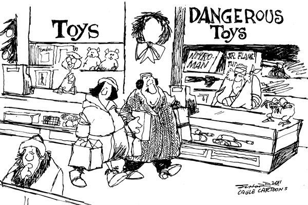 Bill Schorr - Cagle Cartoons - Dangerous Toys - English - Christmas, Toys, shopping, mall, gift