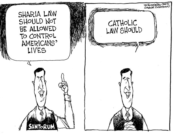 Bill Schorr - Cagle Cartoons - Sharia Law - English - sharia,law,catholic,santorum,religion,campaign,american,control