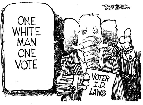 Bill Schorr - Cagle Cartoons - Voter ID Laws - English - voter,id,laws,gop,one,man,white,vote