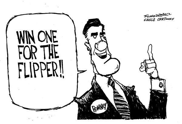 Bill Schorr - Cagle Cartoons - One for the Flipper - English - mitt romney,flipper,campaign,election,gop,republican