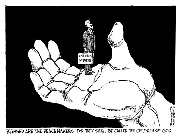 Bill Schorr - Cagle Cartoons - RIP Ambassador Stevens - English - ambassador,Chris Stevens,Libya,Egypt,terrorist attack,state department