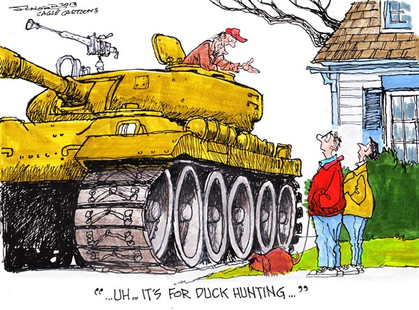 Bill Schorr - Cagle Cartoons - Duck Hunting - English - duck hunting,weapons,tank,guns,violence