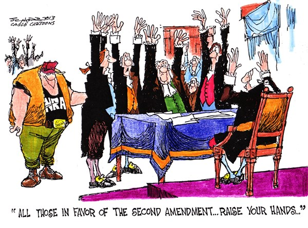 Bill Schorr - Cagle Cartoons - Raise Your Hands - English - guns,arms,second amendment,vote,rights,freedom,nra