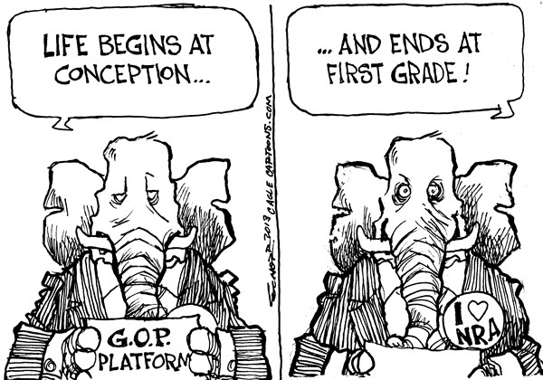 Bill Schorr - Cagle Cartoons - Life Begins and Ends - English - life,conception,nra,guns,begins,ends,platform,gop,safe-schools