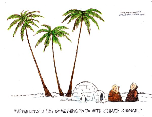 Bill Schorr - Cagle Cartoons - Climate Change - English - climate,change,penguins,cold,warm,weather,melting