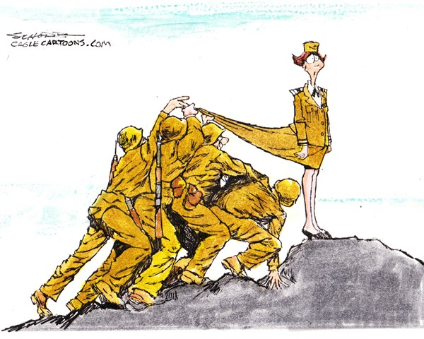 Bill Schorr - Cagle Cartoons - Military Assault - English - military,sexual,assault,soldiers,women