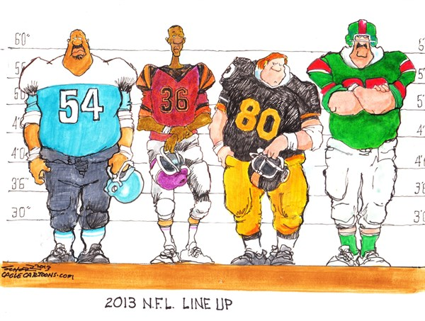 Bill Schorr - Cagle Cartoons - NFL Line Up - English - nfl,players