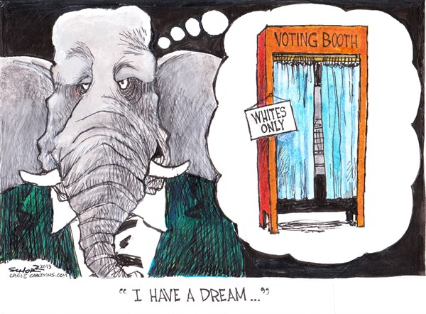 Bill Schorr - Cagle Cartoons - uncivil rights - English - voter suppression, id laws,civil rights