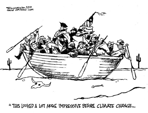 Bill Schorr - Cagle Cartoons - Washington crossing the Delaware 2013 - English - global warming, climate change, drought