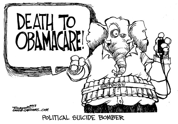 Bill Schorr - Cagle Cartoons - political suicide bomber - English - gop, obamacare, tea party, shutdown, budget