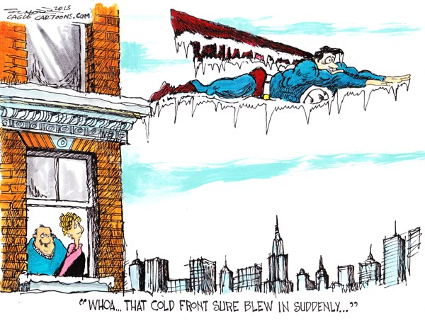 Bill Schorr - Cagle Cartoons - cold snap - English - weather, cold front, climate change