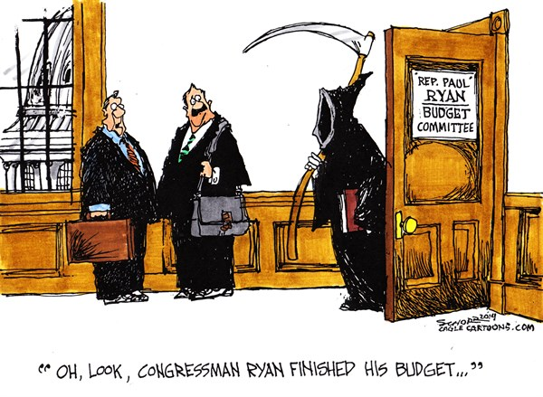 Bill Schorr - Cagle Cartoons - the grim ryan color - English - paul ryan, budget, safety net,