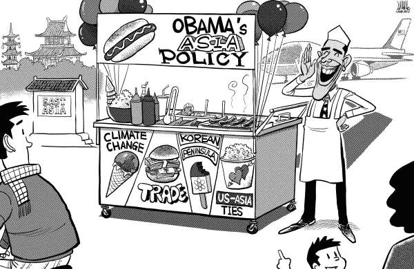Obama visits Asia © Luojie,China Daily, China,Obama,visit,China,Japan,East Asia,climate change,trade,Korean Peninsula,Us-Asia ties,Asia policy,sell,hotdog