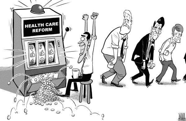 Luojie - China Daily, China - Obama made it - English - health care,reform,Obama,president,US,Clinton,Reagan,Carter,success,slot machine