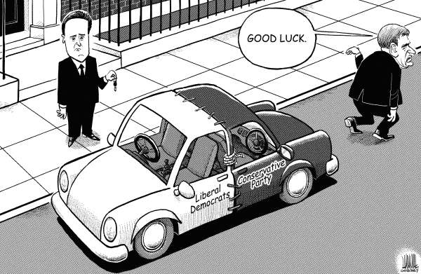 "Luojie - China Daily, China - ""New"" car - English - Cameron,British,Prime Minister,Conservative Party,Liberal Democrats,coalition,government,UK,new,car"