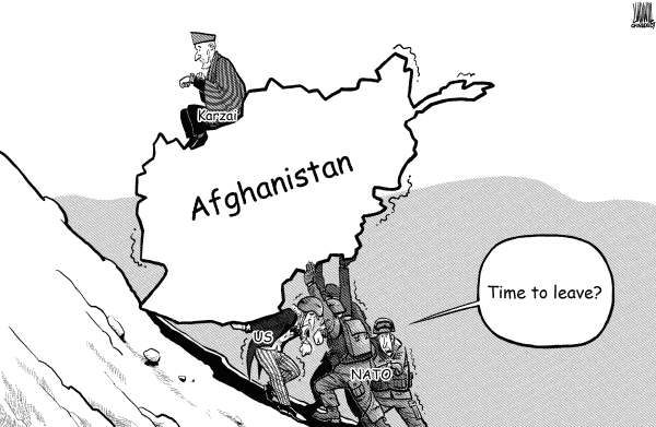 Luojie - China Daily, China - Time to leave-bw - English - Afghanistan,withdrawal,timetable,US,NATO,time,leave,Karzai