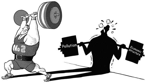 semblance © Luojie,China Daily, China,China,GDP,world,No2,semblance,weight lifting,pollution,economic structure