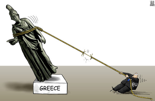 Luojie - China Daily, China - Greece and the EU - English - Greece,EU,debt,crisis,statue,Athena,hold on