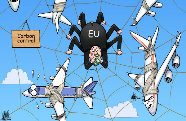 Luojie - China Daily, China - Carbon control - English - Carbon control,EU,spider,airplane,money,Carbon tax