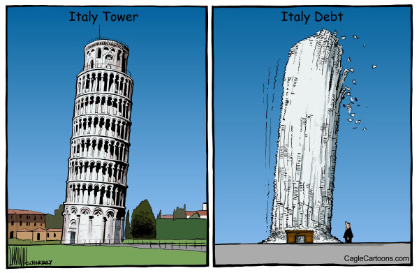 Luojie - China Daily, China - Italy Inclined - English - inclined, Italy tower, debt, Italy, spending, government, recession