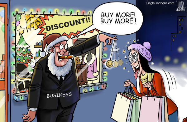 Luojie - China Daily, China - After Holiday Shopping Hypnosis - English - hypnosis, Christmas, crazy, shopping, buy, more, China, business, consumer, sales, bargains, retail